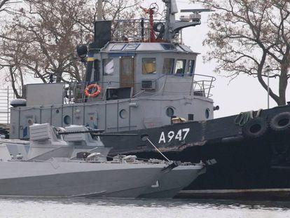 Uno de los barcos ucranios apresados por los guardacostas rusos el pasado noviembre en una imagen de archivo.