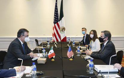 Una reciente reunión bilateral entre el canciller mexicano, Marcelo Ebrard, y el secretario de Estado estadounidense, Antony Blinken.