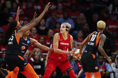 Delle Donne, en uno de los partidos de las finales de la WNBA de la temporada pasada entre Washington Mystics y Connecticut Sun