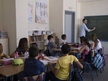 Un aula escolar en Sevilla.