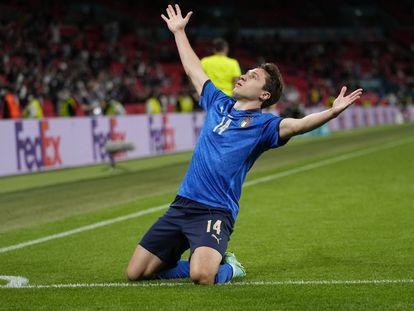 Chiesa celebra su gol ante Austria este sábado en Wembley.
