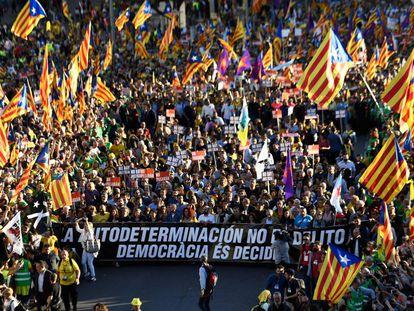 Cabecera de la manifestación independentista en Madrid.