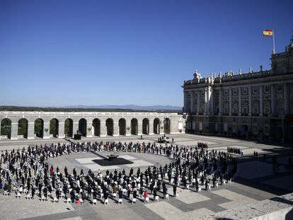 Homenaje a las víctimas de la pandemia en el Palacio Real de Madrid el pasado 17 de julio.