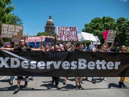 Una manifestación en Austin contra la nueva ley sobre el aborto en Texas, el pasado 28 de mayo.