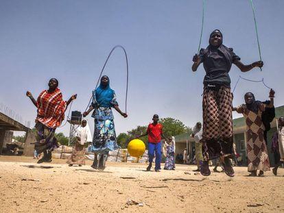Grupo de menores en un centro de Unicef en Nigeria.