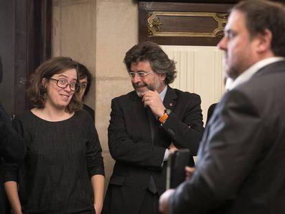 Oriol Junqueras presenta los presupuestos frente a la diputada de la CUP Eulàlia Reguant.