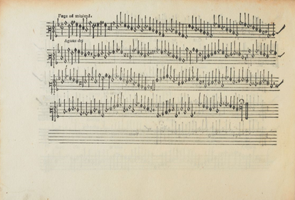 Parte de Altus del tercer 'Agnus Dei' de la 'Missa l'homme armé Sexti toni', con la indicación 'Fuga ad minimam' en la pionera edición de las 'Misse Josquin' de Ottaviano Petrucci (Venecia, 1502).