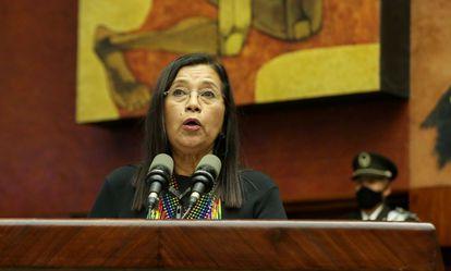 Guadalupe Llori, en su discurso tras ser electa como presidenta de la Asamblea Nacional de Ecuador el 15 de mayo.