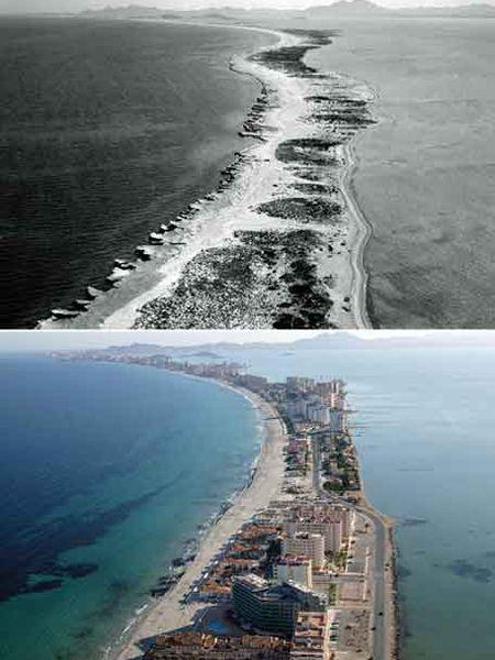 La Manga del Mar Menor era en 2005 un mar de edificios. En 1963, un paraíso natural. El Gobierno quiere aprobar ahora una moratoria urbanística.