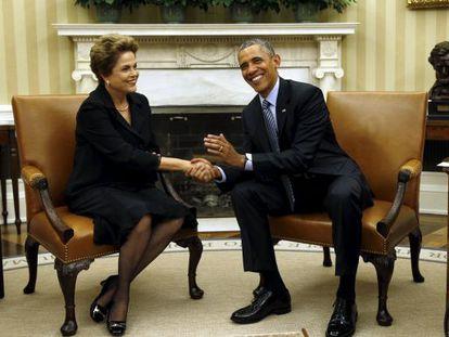 Dilma Rousseff y Baracl Obama, en el Despacho Oval de la CAsa Blanca, el pasado martes.