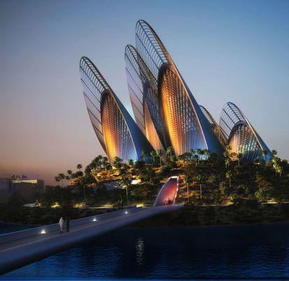 Museo Nacional de Zayed en la isla de Saadiyat de Abu Dabi, en construción, de Norman Foster.