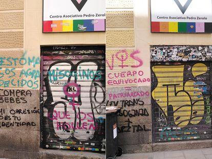 Pintadas en la fachada de la sede del COGAM, en Madrid.