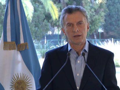 El presidente Mauricio Macri anuncia desde la residencia de Olivos el acuerdo con el FMI para adelantar los fondos del rescate acordado en junio.