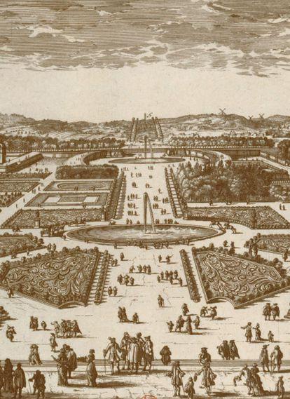 Los jardines de las Tullerías y los Campos Elíseos, planeados en 1667 por el urbanista y paisajista André Le Nôtre, en un grabado de 1697 cedido por el estudio de arquitectura PCA Stream.