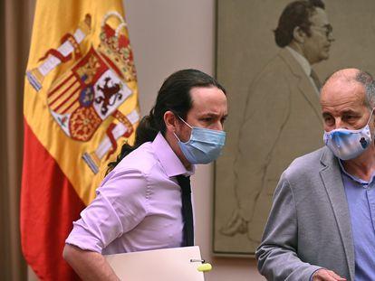 Pablo Iglesias, este jueves antes de comparecer en la Comisión de Derechos Sociales y Políticas Integrales de la Discapacidad del Congreso.