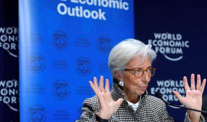 La directora gerente del FMI, Christine Lagarde, este lunes en Davos.