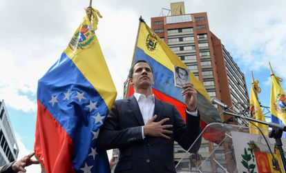 Juan Guaidó, durante la jura como presidente interino de Venezuela.
