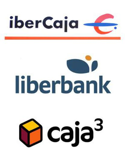 Logotipos de Liberbank, Ibercaja y el grupo Caja 3.