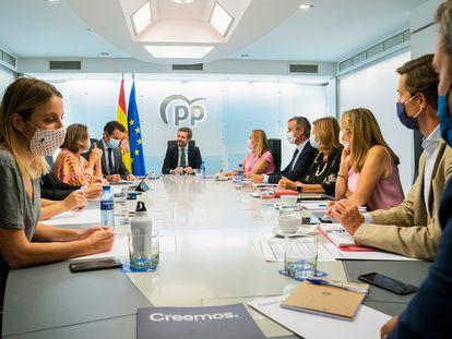 El presidente del PP, Pablo Casado, el pasado lunes en la última reunión del comité ejecutivo de su partido.