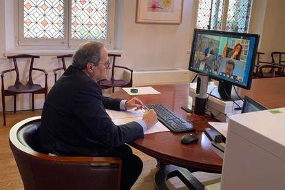 El presidente de la Generalitat, Quim Torra, en una videoconferencia