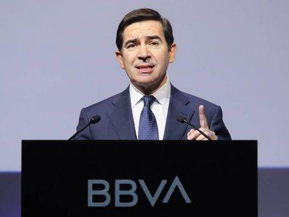 El presidente del BBVA, Carlos Torres, en la presentación de resultados de 2019.