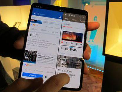 El Galaxy Fold es más alargado que un teléfono tradicional y bastante más ancho. Está pensado para poder ser guardado en un bolsillo, pero tiene que ser profundo. La ejecución simultánea de aplicaciones funciona bien y gana en programas de imágenes