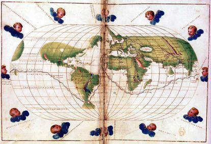 Mapamundi con la ruta del viaje de Magallanes.