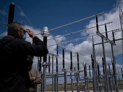 Subestación eléctrica en una planta fotovoltaica en Trujillo, Cáceres.