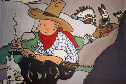 Portada de un libro de Tintín, una de las obras destruidas en Canadá por ser consideradas ofensivas para los indígenas.