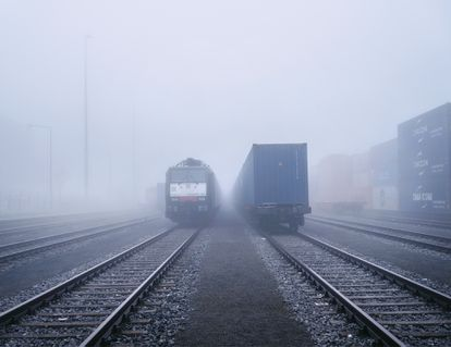 Trenes de mercancías chinos en la Terminal Intermodal de Duisburgo, en enero.