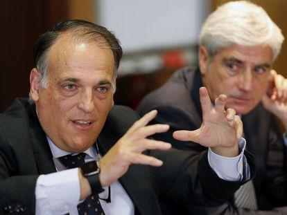 Javier Tebas, junto a Clemente Villaverde.
