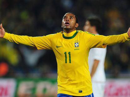 Robinho con la selección de Brasil, en una foto de archivo.