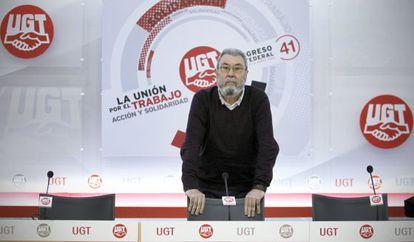 Cándido Méndez, secretario general del sindicato UGT, en la sede del sindicato
