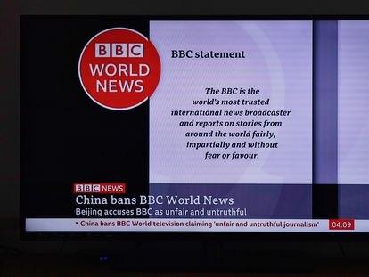 Imagen de la emisión de la BBC en China.