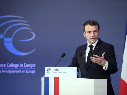 Macron, durante su discurso en la sesión inaugural del nuevo Colegio Europeo de Inteligencia en París.