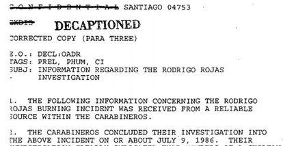 Cables confidenciales sobre el caso de Rodrigo Rojas.
