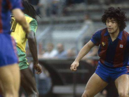 Maradona, durante su etapa como jugador del Barcelona.