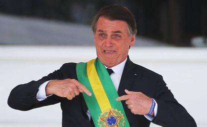 El presidente de Brasil, Jair Bolsonaro, en su toma de posesión, el pasado 1 de enero.