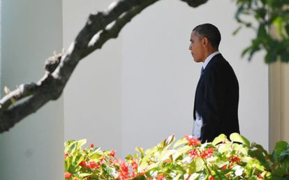 El presidente Obama, en los jardines de la Casa Blanca este miércoles.