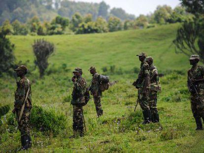 Rebeldes del M23, a las afueras de Goma.