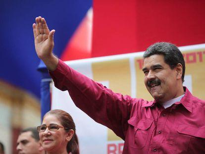 El presidente Maduro, en un mitin en Caracas, el martes