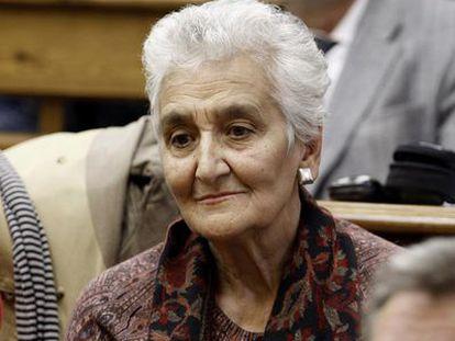Hilda Farfante en 2010, cuando participó en el encierro simbólico en una facultad de la Universidad Complutense en apoyo a Baltasar Garzón.