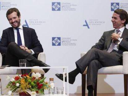 José María Aznar y Pablo Casado, el pasado enero, en el foro titulado 'España ante un cambio de régimen'.
