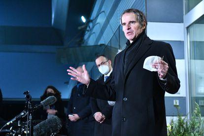 El director del OIEA, Rafael Grossi, a su regreso a Viena tras lograr un entendimiento técnico con Irán, a finales de febrero.