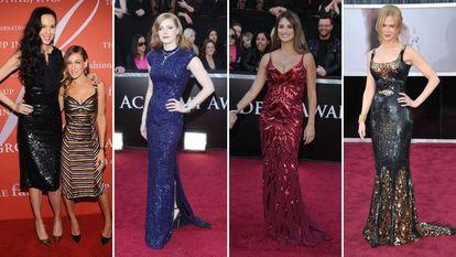 L'Wren Scott con Sarah Jessica Parker; Amy Adams, Penélope Cruz y Nicole Kidman (de izquierda a derecha). Los vestidos de todas (excepto el de Scott) se han vendido en una subasta benéfica.