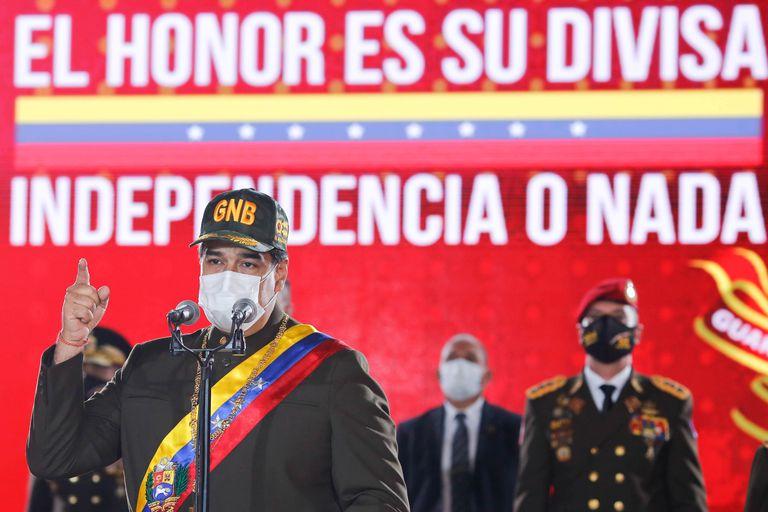 El presidente de Venezuela, Nicolás Maduro, habla durante la celebración de un nuevo aniversario de la Guardia Nacional Bolivariana, el 4 de agosto.