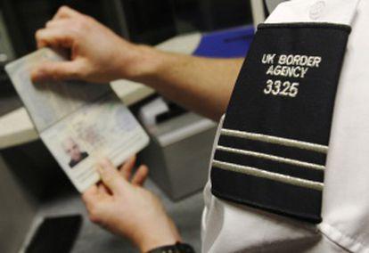 Passport control at London's Gatwick Airport.