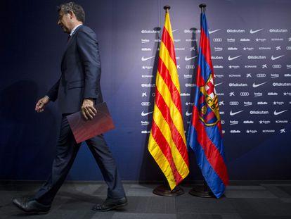 Josep Maria Bartomeu, tras una conferencia de prensa en el Camp Nou.
