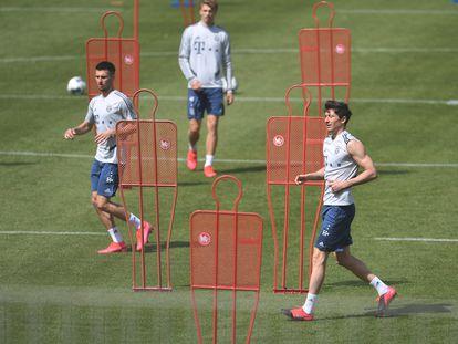 Lewandowski, en un entrenamiento con el Bayern Múnich el pasado viernes.