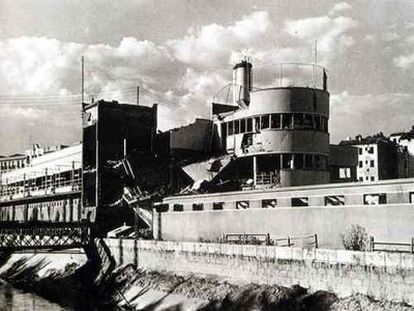 Estado de la piscina La Isla tras la Guerra Civil.